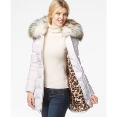 Laundry by Shelli Segal Faux-Fur-Hood Puffer Down Coat ($130) ❤ liked on Polyvore featuring outerwear, coats, puffy coat, puffa coat, puff coat, white puffy coat and down puffer coat