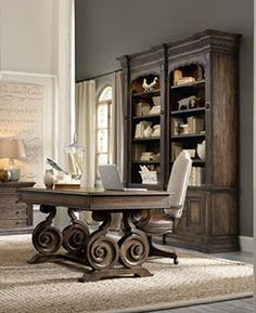 Hooker Furniture has been an industry leader for quality bedroom sets, dining room sets, living room furnishings, and home office furniture for over 90 years. Decor, Furniture, Home Office Desks, Home Office Furniture, Furniture Catalog, Elegant Homes, Home Decor, Rustic Home Offices, Rustic House