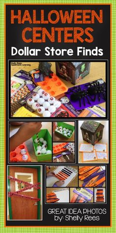 Halloween Centers inspired by the Dollar Store! Look at how many creative, fun, Halloween learning centers this teacher made with a $12 trip to the Dollar Tree! LOVE!