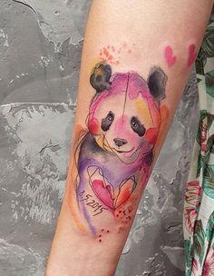 Simona Blanar Watercolor panda tattoo