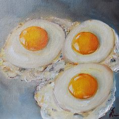 Fried Eggs ORIGINAL Oil Painting Food Art 6x6 by by Kristine Kainer  - SOLD - Commissions welcome