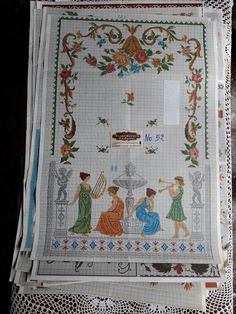 Cross Stitch Borders, Cross Stitch Patterns, Crochet Patterns, Traditional Tapestries, Vintage Cross Stitches, Embroidery Stitches, Tapestry, Quilts, Blanket