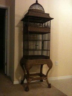 Wicker/Metal Bird Cage-decorative or functional