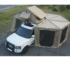 Extended Roof Tent setup! Would be awesome for camping out of the back of a truck, just throw an air mattress in the bed.