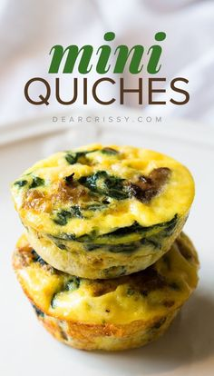 Crustless mini quiches recipe YIELD: 12 mini quiches PREP TIME: 30 COOK TIME: 25-30 minutes TOTAL TIME: 1 hr