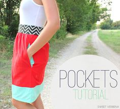 DIY How to Add Pockets to Anything Tutorial from Sweet Verbena here.*This post goes a long with her color blocked tank dress here.