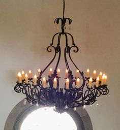 Custom wrought iron chandelier with a touch of bling we did for this California home. It boasts 24 lights but can be customized larger or smaller depending on your space Wrought Iron Light Fixtures, Wrought Iron Chandeliers, Rustic Light Fixtures, Rustic Chandelier, Rustic Lighting, Lighting Ideas, Rustic Elegance, Ceiling Lights, Modern