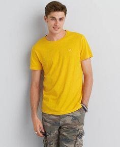 American Eagle Legend Crew T-Shirt, Men's, Bright Dijon
