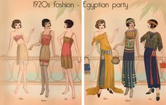 Downton Abbey Fashion Era -  It's midsummer 1923 and Eqyptian-style gowns are all the rage and the perfect outfits to wear to an elegant dinner party. The tomb of Tutankhamun was discovered in 1922, causing great excitement all round the globe. Fashion designers were thus inspired to produce Egyptian elements into their designs. It was known as the Eqyptian revival.