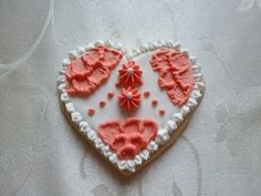 Heart shaped handpainted sugar cookie by CreativeChaosinCT on Etsy, $60.00