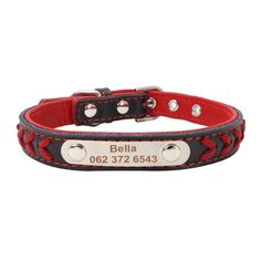 Personalized Leather Dog Collar Fashionable leather pet collar with free engraved personalised stainless steel name plate.  Stainless steel engraved name plate Two toneleather design Strong and durable  Why We Love It: These stylish Personalized Leather Dog Collars are far stronger than aluminium and less prone to wear. The stainless steel lasts longer and is unlikely to wear thin and break likealuminiumtags. The laser engraving is clear, permanent, and attractive on a mirror-finish…