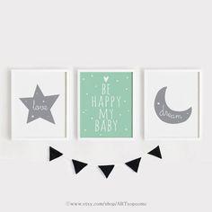 Printable Nursery Art Set of 3 Poster Baby room Wall art Gray