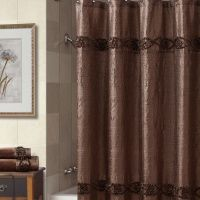 Croscill Jasmin Shower Curtain in Chocolate - A crinkled faux silk fabric is enhanced by rows of 3-Dimensional floral braids running horizontally along the top and bottom sections. #bathroom #decor #showercurtain www.croscill-living.com
