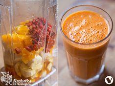 Kuchařka ze Svatojánu: SLUNEČNÝ KOKTEJL Smoothies, Food And Drink, Pudding, Vegan, Drinks, Desserts, Google, Syrup, Smoothie