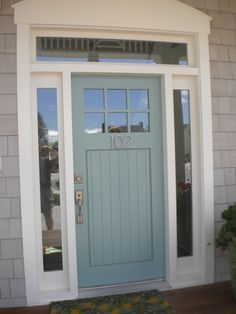 Architecture, : Retro Blue Door With Sweet Gold Door Handles And Wonderful White Brick Wall