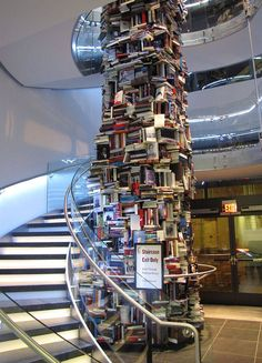 This 3 story tall tower of books features 15,000 different titles about President Lincoln. The tower is on display at the new Washington DC Center for Education and Leadership, a museum focused on Lincoln's legacy.  It is across the street from Ford's Theatre, the site of Lincoln's assassination.