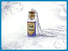 Truth Serum Potion Bottle Necklace with Real Moving Liquid Inside - Shimmer Swirl Purple Magic Potion Charm - Mini Cork Vial - Fairy Tale Fantasy Halloween Jewelry - Wedding nacklaces (*Amazon Partner-Link)
