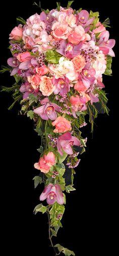 pastel pink, coral and mauve cascade wedding flower bridal bouquet