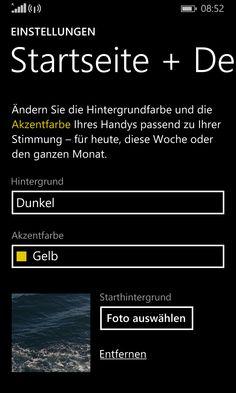 Anleitung - Windows Phone Einstellungen Startseite und Design