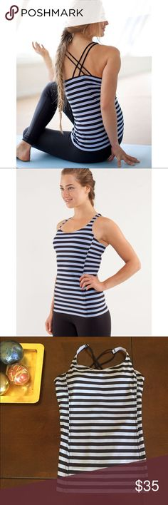 """{LULULEMON} TANK The Lululemon """"Free to Be"""" tank has cross-back straps and a built in bra. Periwinkle and black stripes lululemon athletica Tops Tank Tops"""