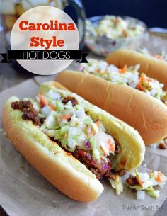 ~Carolina Style Hot Dog A Carolina tradition! Carolina Style Hot Dogs are covered in a beefy chili, creamy homemade cole slaw, and onions. Ketchup and mustard are optional. Serve these at your next backyard BBQ for a crowd-pleasing win~. Homemade Coleslaw, Homemade Chili, Creamy Coleslaw, Coleslaw Recipe For Hot Dogs, Slaw Dog Recipe, Hot Dog Recipes, Chili Recipes, Jamie's Recipes, Salsa Para Hot Dog