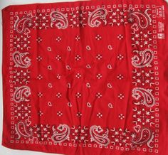 Vintage Red Bandana Paisley American Made by EclecticVintager, $8.00- My dad used the red and blue hankies-DK