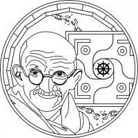 Mandala Mahatma Gandhi. Para imprimir, colorear, pintar.