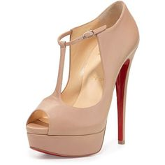 Christian Louboutin Alta Poppins T-Strap Red Sole Pump (16 770 ZAR) ❤ liked on Polyvore featuring shoes, pumps, nude, ankle strap pumps, leather shoes, high heel pumps, t strap pumps and ankle strap platform pumps