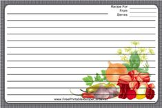 This Meat Veggies Herbs Black Recipe Card features meat, veggies, and herbs with a black and white checked border. Free to download and print