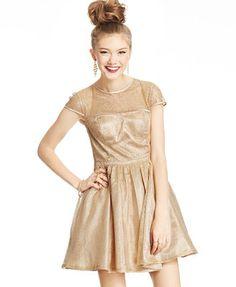 Hailey Logan by Adrianna Papell Juniors  Cap-Sleeve Metallic Dress Juniors  - Dresses - Macy s 66237a572