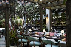 Cecconis (Miami, Florida) Architect Martin Brudnizki chose to incorporate a little local color into the Miami outpost of the sophisticated London bistro, Cecconis. Seafoam seat cushions set amid lush greenery create a romantic interplay between indoor and out.   Courtesy of Martin Brudnizki.