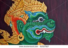 stock photo : Traditional Thai art/paintings in an ancient temple wat phra kheo/grand palace,thailand. Temple Thailand, Thailand Art, Southeast Asian Arts, Thai Pattern, Buddha Tattoos, Thai Tattoo, Thai Art, Pattern Images, Sketchbook Inspiration