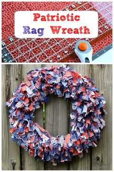 DIY patriotic rag wreath made from fabric