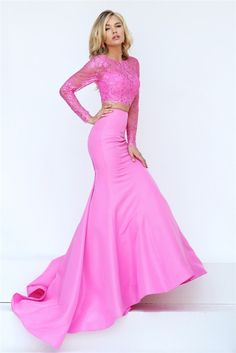 Gorgeous Mermaid Two Piece Pink Satin Lace Beaded Prom Dress With Long Sleeves Pink Party Dresses, Prom Dresses, Formal Dresses, Beaded Prom Dress, Beaded Lace, Prom Queens, Pink Satin, Evening Dresses, Gowns