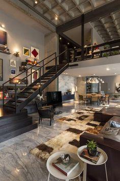 salon style industriel avec tapis blanc et marron, salon moderne en carrelages