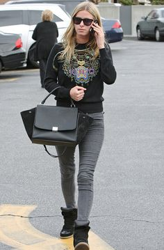 Look for Less: Nicky Hilton's LA Kenzo Black Tiger Sweater, Céline Trapeze Bag, and Isabel Marant Wedge Sneakers