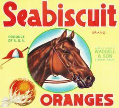 Print (Lindsay, California - Seabiscuit Racing Horse Brand Citrus - Vintage Crate Label)