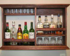 Mini Bar Black Stain 3'x2' wall mounted wine rack by DogWoodShop