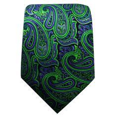 Q18 Paisley Green Purple Black Mens Necktie Ties 100% Silk Jacquard Woven