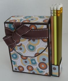 So You Think You're Crafty: Teacher Gifts – Week 3 Handmade Stationary, Stationary Box, Handmade Cards, Teacher Appreciation Gifts, Teacher Gifts, Diy Stationery Holder, Dyi, Index Card Holders, Craft Punches