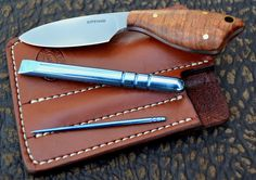 EDC Pocket sheath for Small Drop point fixed blade with Ti pry bar and Ti tooth pick - R.G. Epting Custom Knives