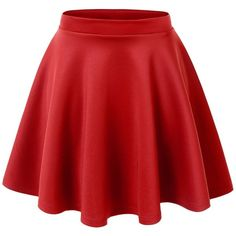 MBJ Womens Basic Versatile Stretchy Flared Skater Skirt (44 VEF) ❤ liked on Polyvore featuring skirts, bottoms, saias, skater skirt, red skirt, red circle skirt, flare skirt and red stretch skirt
