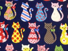 1M Japanese cotton fabric cat printed One yard by HanamiBoutique