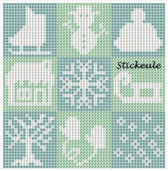 Stickeules Freebies: Winter   Great for duplicate stitching on knitted projects.