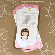 First Communion Favor Cards First Communion Favors, First Holy Communion, Ideas Bautismo, Holidays And Events, Bookmarks, Prayers, Confirmation, Etsy, Party
