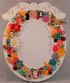 Vintage jewelry embellished frame by TheHoneyDewShop on Etsy, $65.00