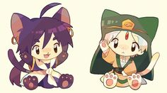 chibi magi of sinbad and jafar in cat form X3 kawaii!