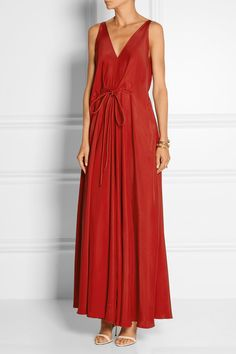 Lanvin | Washed silk-satin gown | NET-A-PORTER.COM