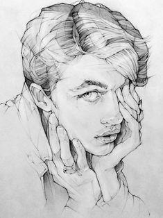 pencil drawing portrait Toh-Yasu藤保 #130, 藤保 Toh-Yasu