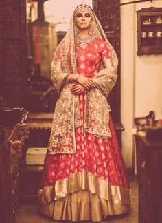 Pink And Gold Embroidered Brocade Lehenga Set By Megha And Jigar @looksgud…